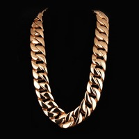 Arabic Gold Jewelry Heavy Stainless Steel Mens Curb Chain Necklace Punk Gold Chain Biker Huge Long Chain Necklace for Man