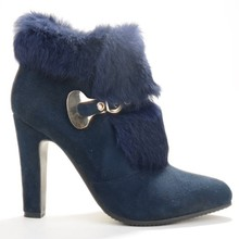 Blue Winter Faux Fur Heels Boots For Women Buckle Closed Pointed Toe Ankle Length High Boots Red Ankle Boots For Women Size 12