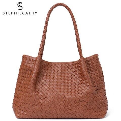 Totes de Alta sc Mulheres Vegan Couro Bolsa Feminina Grandes Qualidade Handmade Woven Grandes Senhoras Ombro Top handle Bags & Bolsa Bolsa