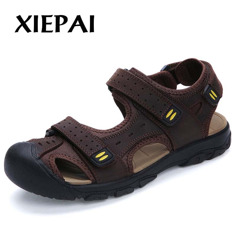 Brand Quality Men Summer Leather Sandals Big Size 38-48 Classic Style Man Casual Slip-on Shoes Beach Shoes