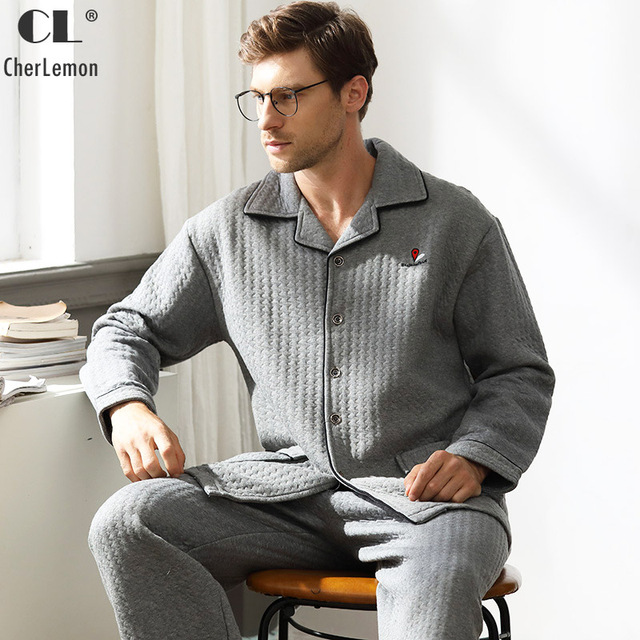 CherLemon Premium Pajamas Men Thick Quilted Cotton Pyjama Male Winter Plaid  Homewear Classic Long Sleeve Turn Down Collar Pijama 2f84ff69c