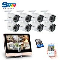 Nowa Lista! 12Inch'LCD 8CH POE System Nadzoru Wideo i 1080 P HD Zewnątrz + Domu Wodoodporna IR POE CCTV Camera Kit + 2 TBHDD APLIKACJI Mobilnej