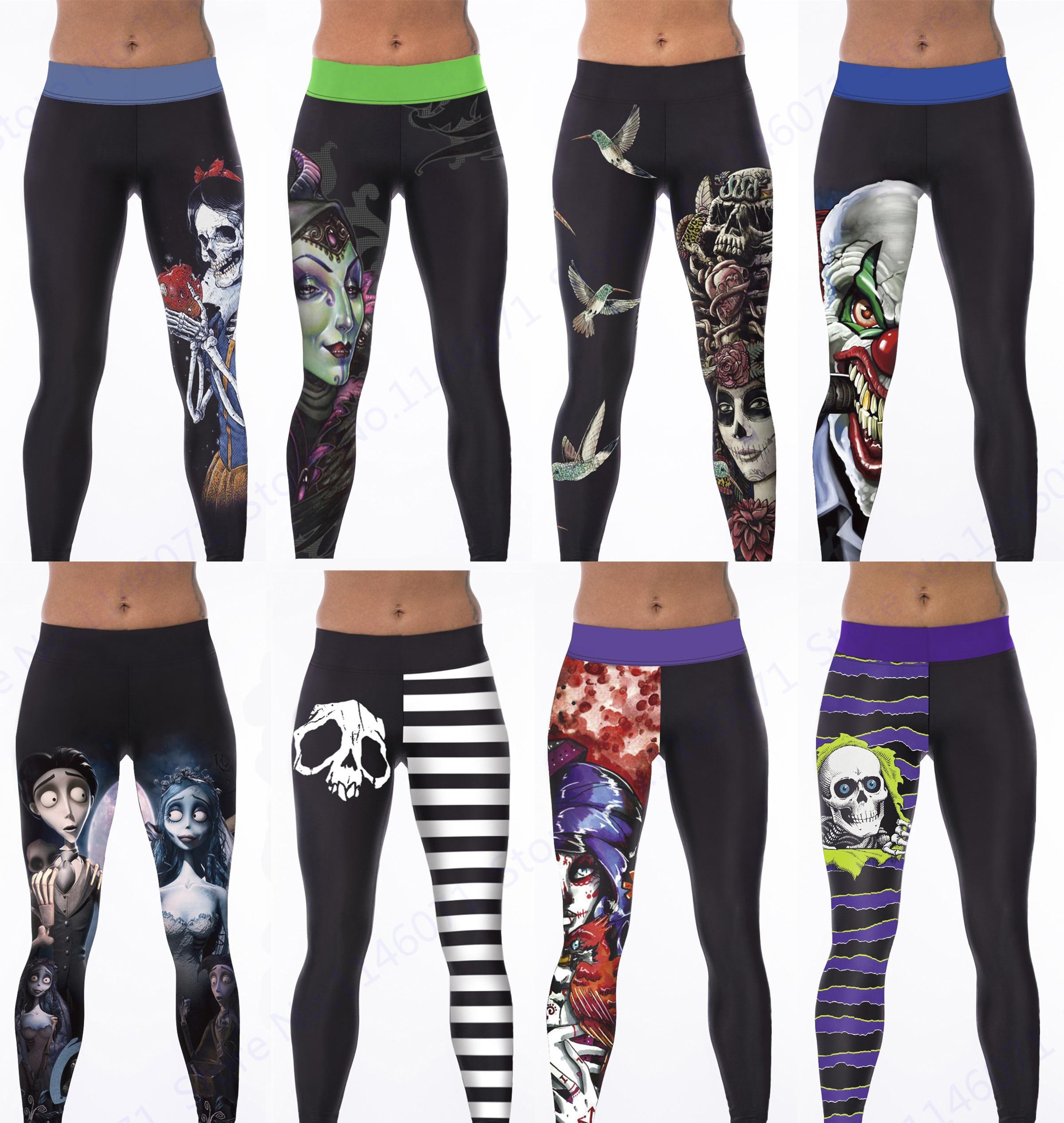 Prix pour Corpse bride Yoga Workout Pants Blanche Neige Mal Reine Sport Courir Pantalon Squelette Crâne Cheville Legging Femmes Gym Pilates Collants