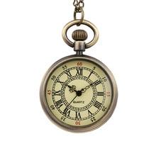 ВИНТАЖНЫЕ КВАРЦЕВЫЕ маленькие карманные часы с круглым циферблатом, Классические карманные часы в римском стиле для мужчин и женщин, подарок для детей, часы с ожерельем для пары, для пожилых мужчин