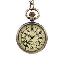 Reloj de bolsillo pequeño de cuarzo con esfera redonda Vintage, reloj de bolsillo con escala romana clásico, reloj de hombre y mujer, collar de regalo para chico, pareja de ancianos