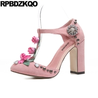 Crystal Pink Shoes Rivet Rose Sandals High Heels Flower Handmade Stud Round Toe Pumps Block Ladies Rhinestone Suede T Strap
