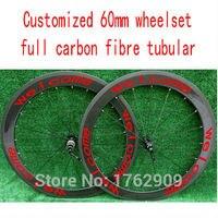 Newest customized logo 700C 60mm tubular rims Road bike matt gloss 3K UD 12K full carbon bicycle wheelsets aero spokes Free ship