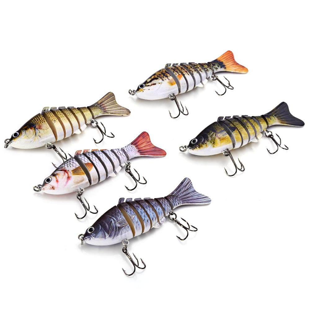 New 7 Segment 10cm Fishing Lure Body Detail Fishing Lure Life-like Baby with Artificial Hooks 3D Eyes Crank Fishing Baits Tackle