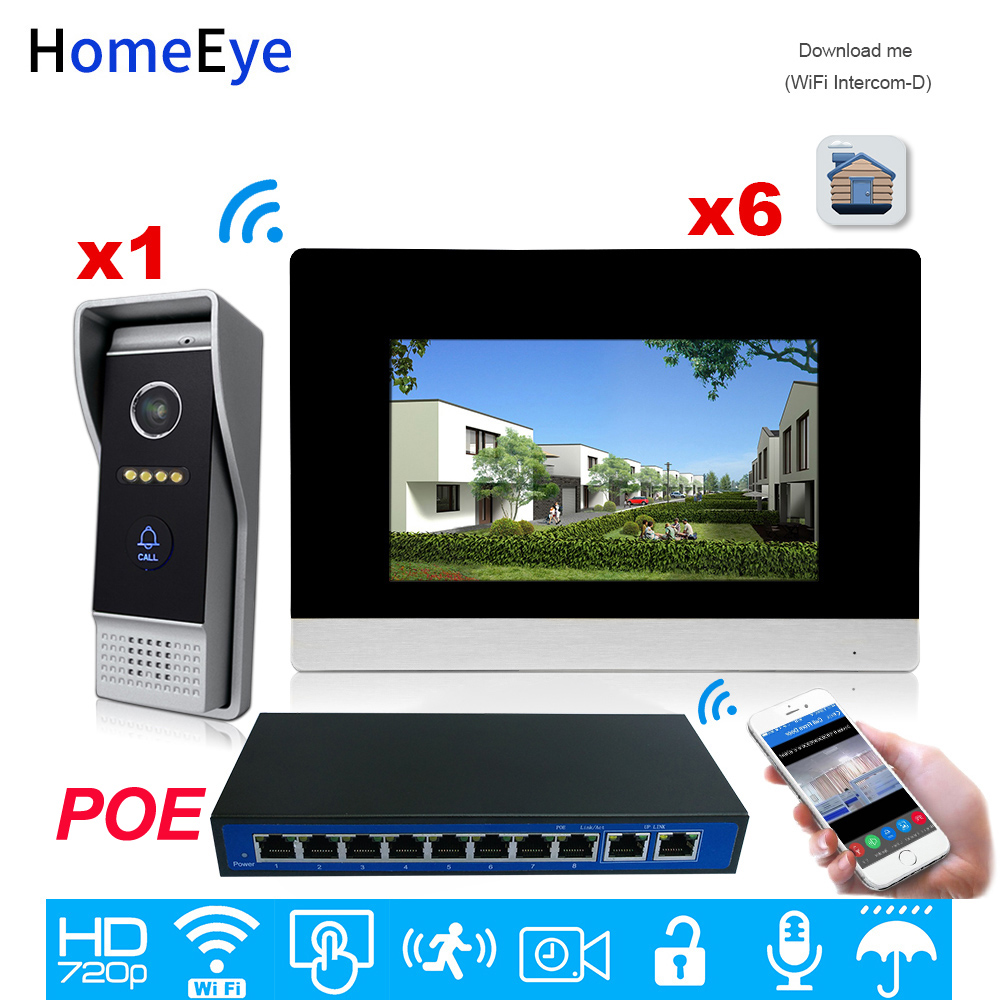 HomeEye 720P HD WiFi IP Video Door Phone Video Intercom Android/IOS APP Remote Unlock Home Access Control System 1-6 +POE Switch