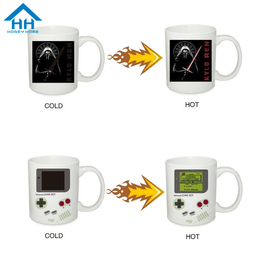 HH Magic Color Changing Cup Game Boy Heat Sensitive Star Wars Mug Ceramic Magical Coffee Milk Mug Best Gifts for Couples Friend