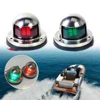 Ansblue 1 Pair Stainless Steel 12V LED Bow Navigation Light Red Green Sailing Signal Light for Marine Boat Yacht Warning Light