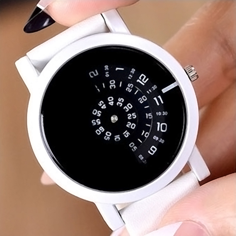 2017 Unisex gift design Leather strap creative unique Creative Rotation for young fashion quartz watches Men Women Relogio