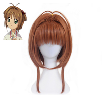 Anime KINOMOTO SAKURA Card Captor Cosplay Wig For Women/Girls Halloween Party Stage Play Cute Hair Brown