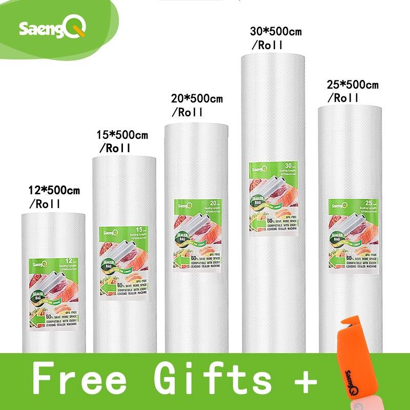 SaengQ bolsas de vacío para sellador al vacío de alimentos frescos tiempo mantener 12 + 15 + 20 + 25 + 30 cm * 500 cm 5 rollos/lote bolsas de envasado al vacío