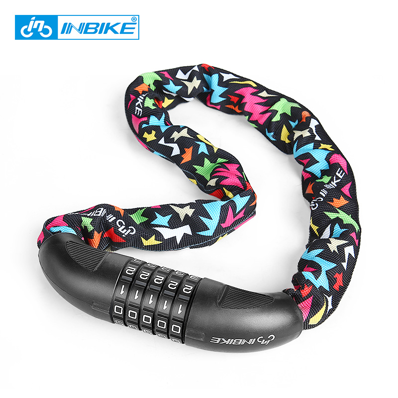 INBIKE Bike Chain Lock 5 Digit Password Profession Bicycle Lock MTB Bike Motorcycle Sliding Glass Door Lock Cycling Accessories