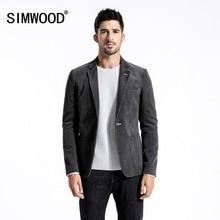 SIMWOOD 2018 Casual Blazers Men Brand Cotton Slim Male Suits Fashion Corduroy Coats Pocket Single Breasted Plus Size 180415