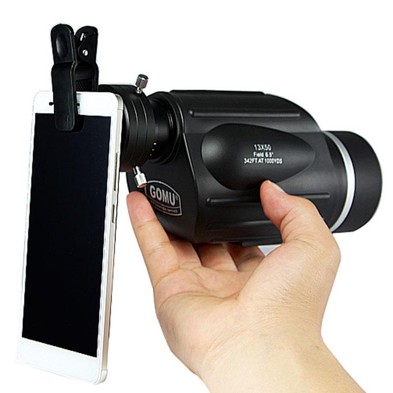 Caça gomu 13x50 monocular poderoso handheld telescópio ocular spotting escopo variando tipo birding com adaptador de câmera do telefone