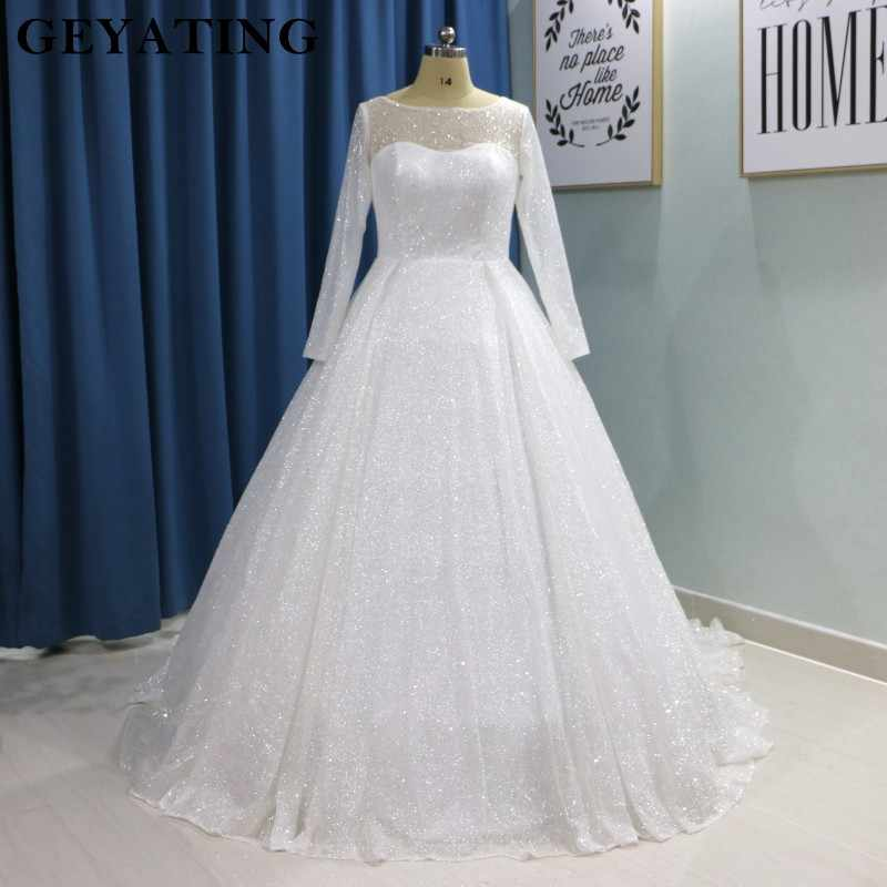 Glitter White Bling Bling Ball Gown Wedding Dress Long Sleeves Princess  Plus Size Bride Dresses 2019 Luxury Sparkly Wedding Gown