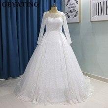 Glitter White Bling Bling Ball Gown Wedding Dress Long Sleeves Princess  Plus Size Bride Dresses 2019 e3cae868ed74