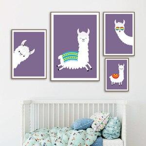Image 3 - Lama Alpaka Cartoon Tier Kindergarten Drucke Nordic Poster Und Drucke Wand Kunst Leinwand Malerei Wand Bilder Baby Kinder Zimmer Dekor