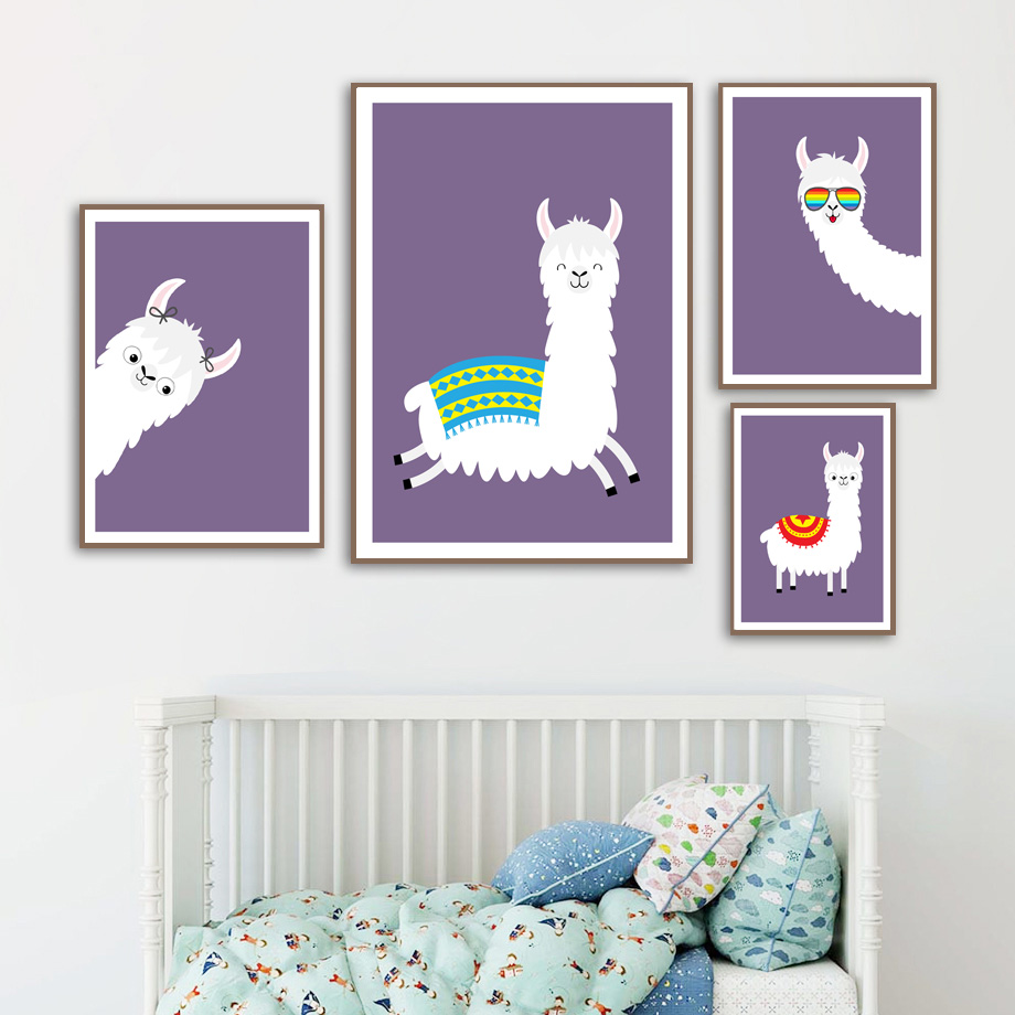 Image 3 - llama Alpaca Cartoon Animal Nursery Prints Nordic Posters And Prints Wall Art Canvas Painting Wall Pictures Baby Kids Room Decor-in Painting & Calligraphy from Home & Garden