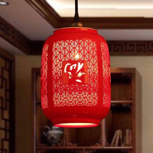 Led E27 Chinese Style Red Pendant Light Suspension Drop Lamp Ceramic Restaurant Kitchen Lighting Modern