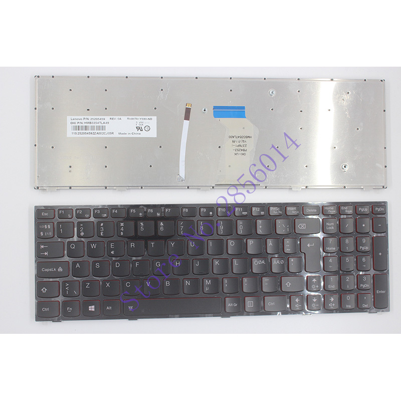NEW Nordic Laptop Keyboard For Lenovo Y590 Y500 Y510P NE Laptop Keyboard With Frame Blacklight new laptop keyboard for medion md98068 md98081 md98083 md98099 md98101 md98102md981895 md98231 md98232 md98233 sw switzerland