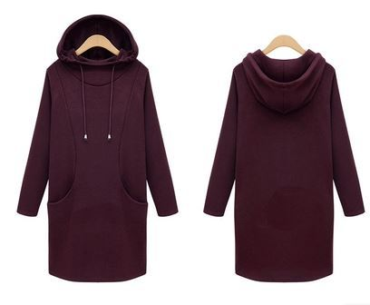 9273907e1a9a6 fashion free shipping S to 4XL plus size women hoodie winter sudaderas  mujer long hoodie dress lady outwear black wine red grey-in Hoodies &  Sweatshirts ...