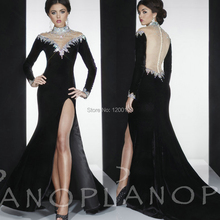 2014 Gorgeous High Neck Long Sleeves Side Slit Velvet Panoply Vestidos De Fiesta Crystal Beaded Long Evening Dresses