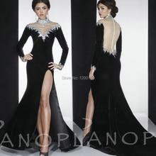 2014 Gorgeous High Neck Long Sleeves Side Slit Velvet Panoply Vestidos De Fiesta Crystal Beaded Long Evening Dresses