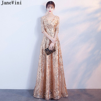 JaneVini 2018 Bling Gold Sequined Long Bridesmaid Dresses V Neck Half Sleeves A Line Sexy Women Formal Party Gowns Floor Length