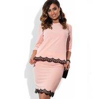 Hot Plus Size Two Piece Set Dresses 3XL 4XL 5XL 6XL Women Fashion Lace Ending Solid