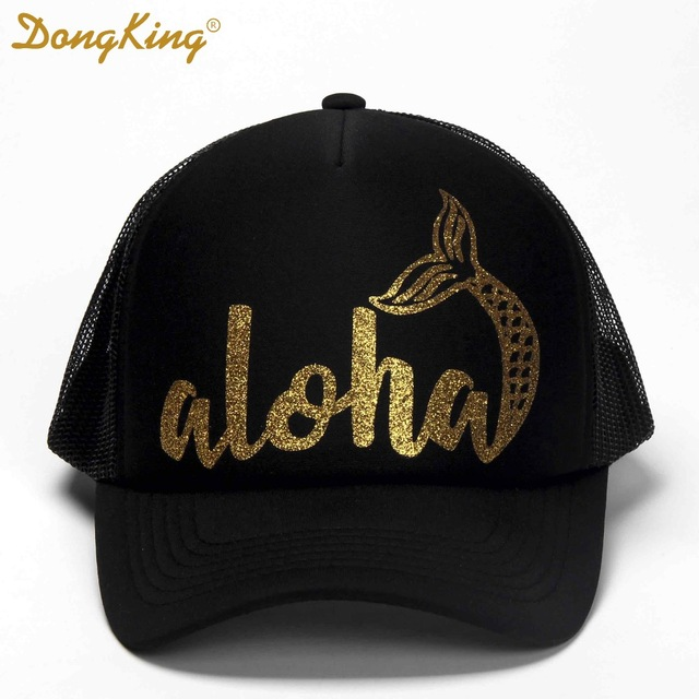 7ca5e2ed642 DongKing Fashion Trucker Hats Aloha Mermaid Glitter Print Printed Mesh Caps  Hawaii Beach Trucker Hats Holidays Christmas Gift