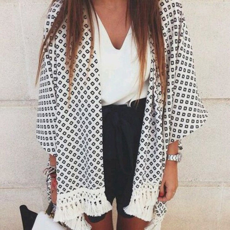 Black Plaid Printed Cardigan Women Shirt White Short Tassel Knitted Kimono Elegant Office Lady Capes Ponchos Casual Tops Coat