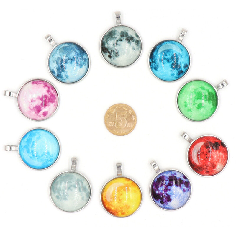 Multi-Color Glowing Moon Necklace Full Moon Necklace Space Picture Pendant Glow Galaxy Jewelry Space Glow in the dark Necklace