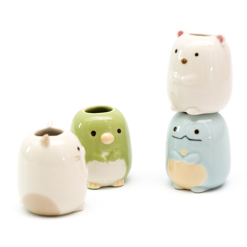 Ceramic Cartoon Animal Toothbrush Holder Bathroom Stand Toothbrushes Sundries Storage Container Tableware Organizer Rack image