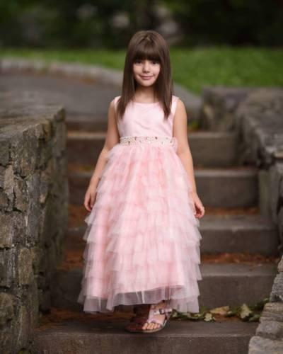 купить Pink Tulle Flower Girl Dresses Ruffle Beads Princess Party Gowns For Kids Custom дешево