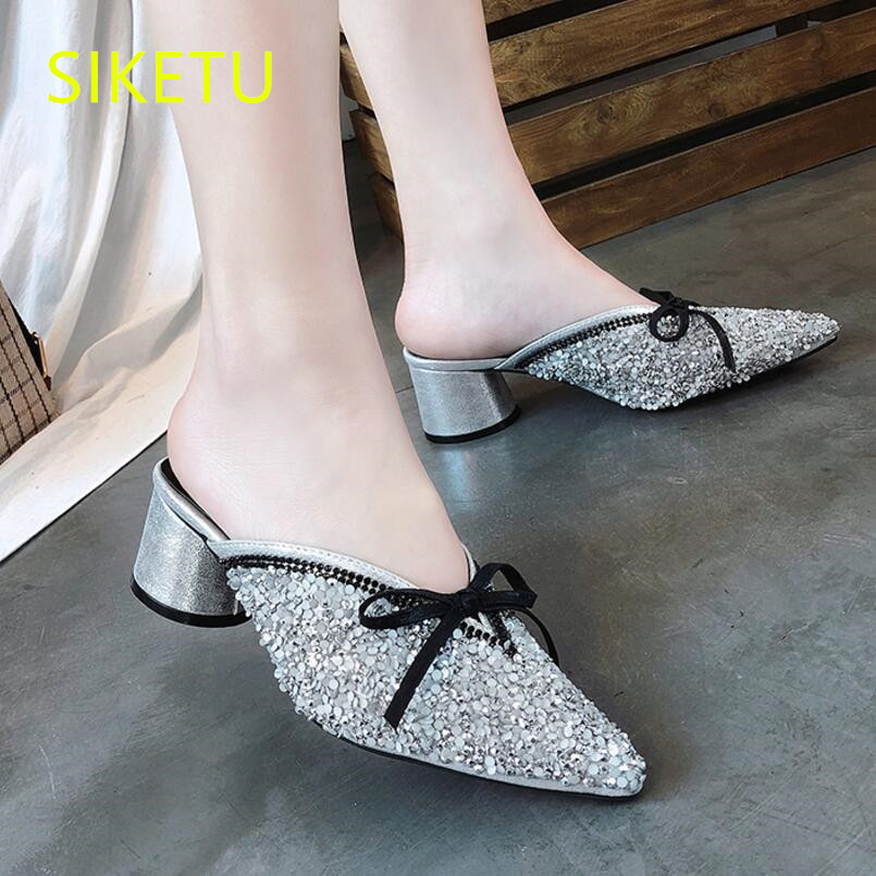 SIKETU Spring and autumn women shoes Fashion sexy high heels shoes wedding shoes work pumps g512 Summer sandals Sequin cloth