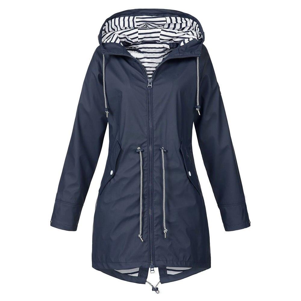 Women Jackets Solid Rain Jacket Outdoor Women Windbreaker Wa