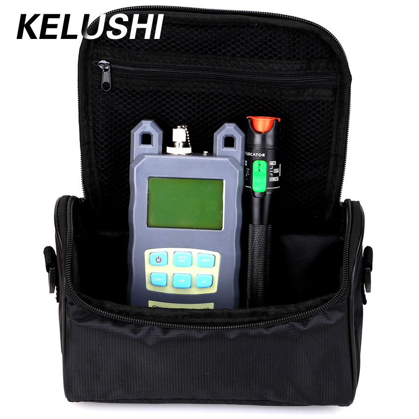 KELUSHI 2 in 1 FTTH Fiber Tool Kit  With Fiber Optical Power Meter +30mw Visual Fault Locator Fiber Optic Cable Tester+Empty bagKELUSHI 2 in 1 FTTH Fiber Tool Kit  With Fiber Optical Power Meter +30mw Visual Fault Locator Fiber Optic Cable Tester+Empty bag