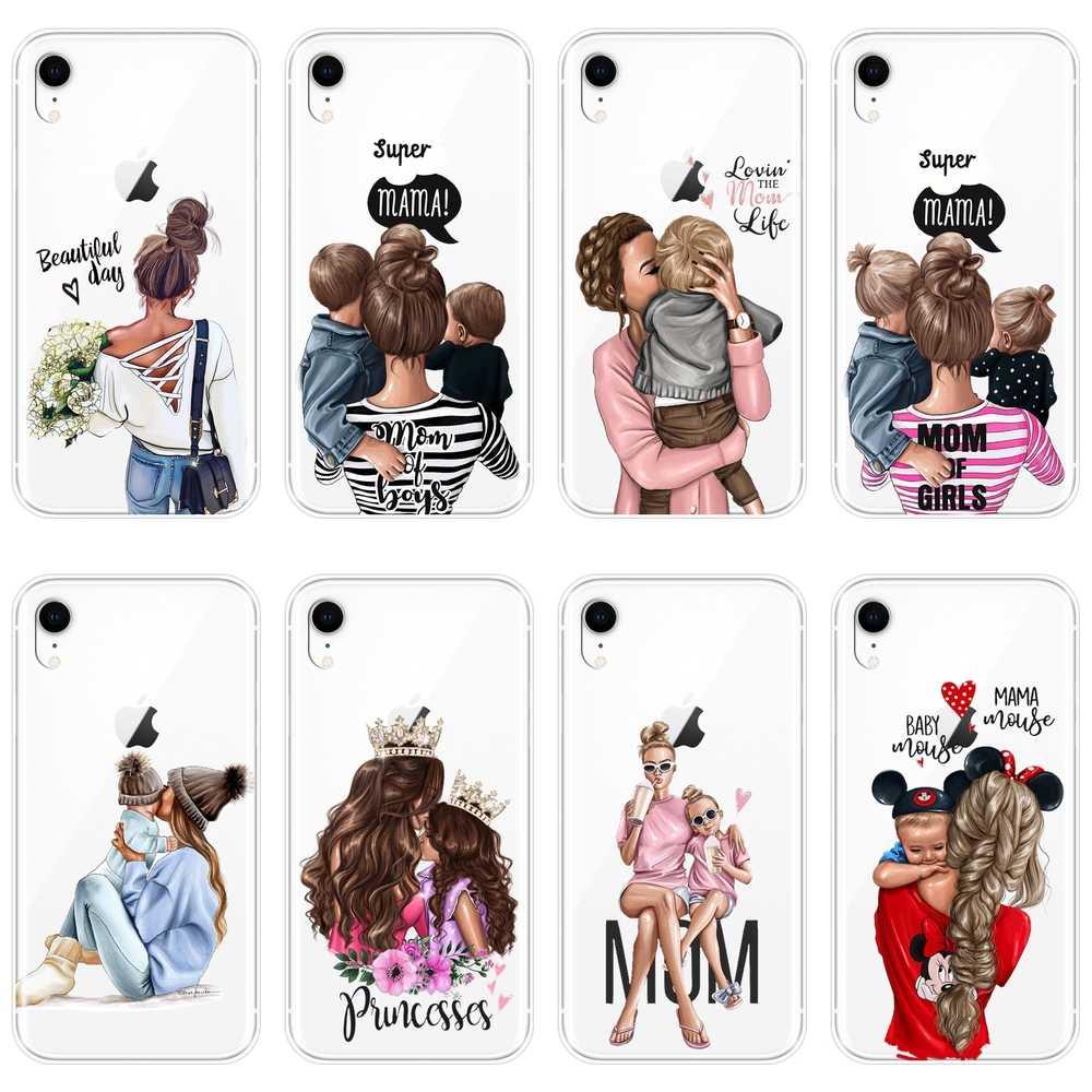 آيفون 6 S 6 S 7 8 X XR XS Max حافظة سيليكون أسود فتاة طفل إمرأة أمي غطاء لين لابل آيفون 8 7 6 S 6 S زائد جراب هاتف