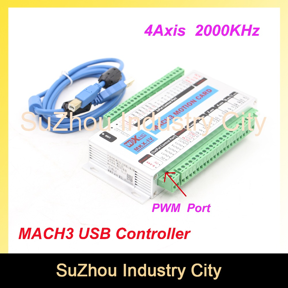 Free Shipping 4 Axis MACH3 USB CNC Motion Control Card frequency 2000KHZ CNC Controller support stepper motor and servo motor. free shipping high quality 4 axis tb6560 cnc stepper motor driver controller board 12 36v 1 5 3a mach3 cnc 12