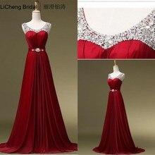 Rot Abendkleid Scoop Neck Perlen Lange Abendkleid Abschlussball-formale Pageant Hochzeit Kleid Vestido De Festa Kostenloser Versand