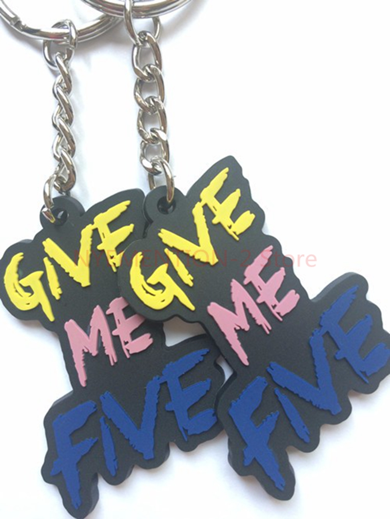 100pcs/lot Keychains Promotional Keyrings Rubber Head Key Tag Customized Key Holder chaveiros personalizado