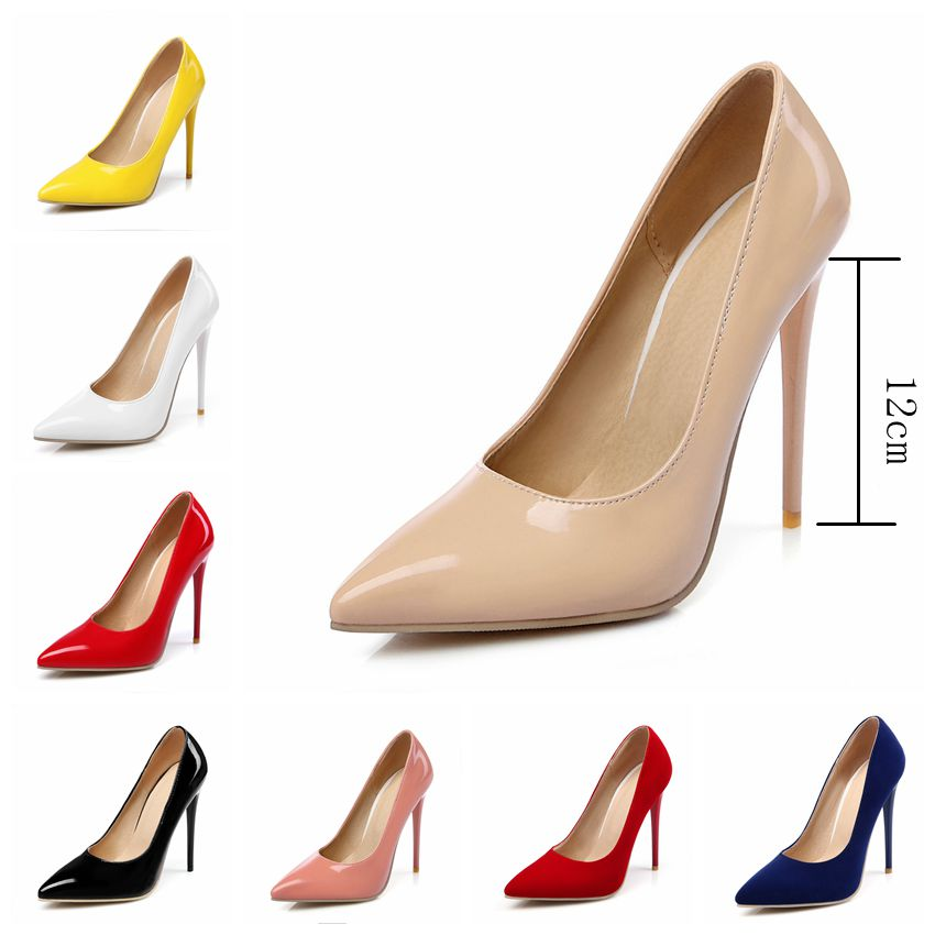 ASILETO size 45 46 women nude pumps pointed shoes flock 12CM high heels shallow Wedding party Stilettos chaussure femme zapatos