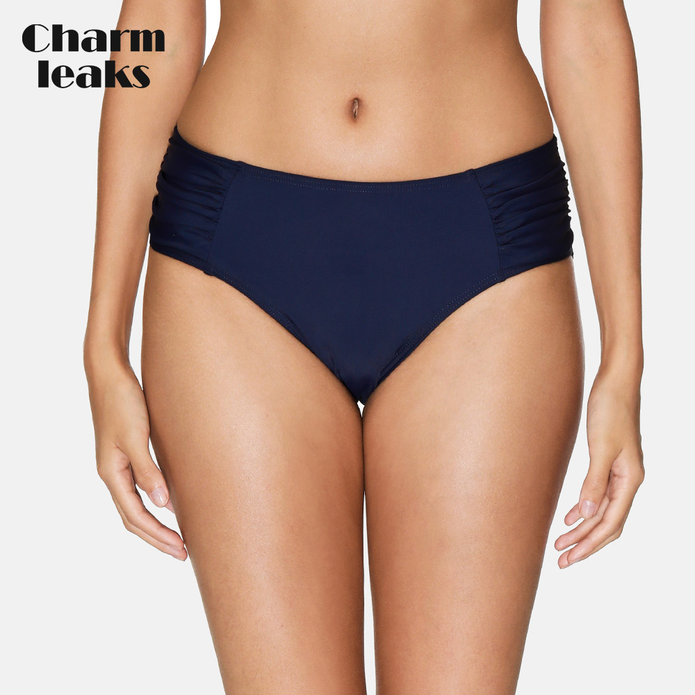 Charmleaks Women Swimming Trunks Ladies Ruched Bikini Bottom Ban Solid Color Swimwear Briefs Sexy Swimming Bottom