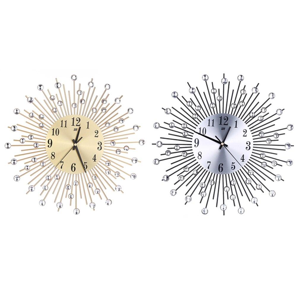 Metal Plus Diamond Wall Clock Iron Art Inlaid Diamond Flower Living Room Bedroom Silence Wall Clock Home Decor
