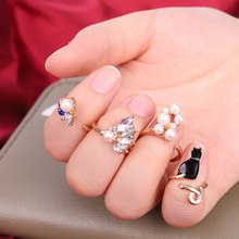 Cat Simulated-Pearl Zircon Resizable Ring Nail Rings Set 4pcs/set Crystal Black(China)