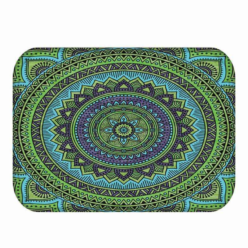 Kreatif Mandala Pintu Tikar India Mandala Dicetak Kain Flanel Tikar Rumah Dekorasi Non-slip Keset Vloermat Mata Lakukan drzwi
