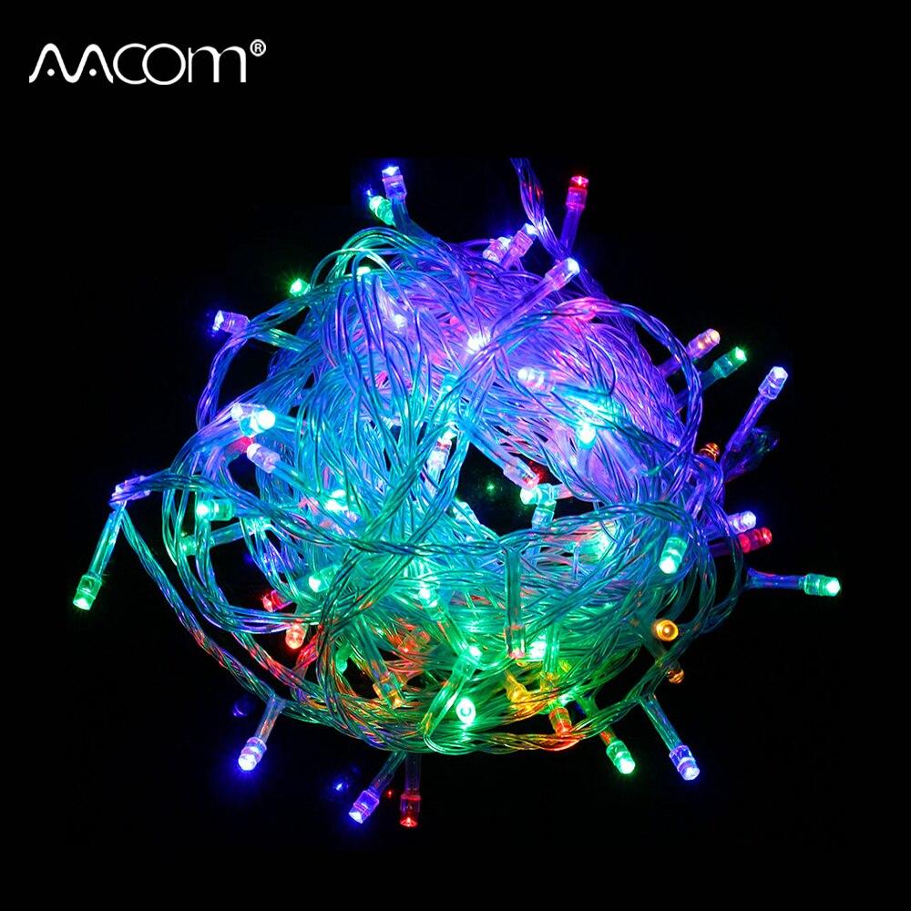 100 светодиодов RGB рождественские огни строки 10 м Водонепроницаемый Xmas гирлянды гирляндой Свадьба Праздник Крытый Открытый Декор 2 шт./лот